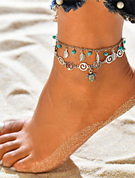 cheap -Turquoise Layered Anklet Ankle Bracelet - Leaf, Turtle Dangling Style, Tassel, Bohemian Silver For Holiday / Bikini / Women's