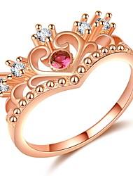 abordables -Mujer Elegante Anillo - Rosa Oro Plateado, Diamante Sintético Corona De moda, Moda, Elegante 5 / 6 / 7 Oro Rosa Para Cita / Cumpleaños