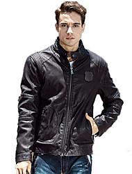 Недорогие -Муж. Кожаные куртки Уличный стиль - Однотонный