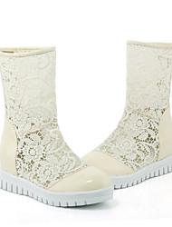 povoljno -Žene Cipele PU / Sintetika Jesen zima Modne čizme Čizme Ravna potpetica Okrugli Toe Čizme gležnjače / do gležnja Obala / Crn / Bež / Zabava i večer