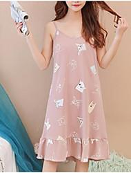 abordables -Mujer Escote en U Profunda Teddy Pijamas Un Color