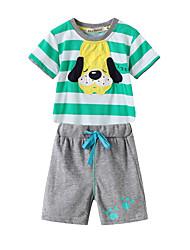 Недорогие -малыш Мальчики Полоски / Пэчворк С короткими рукавами Набор одежды