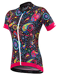 cheap -Malciklo Women's Short Sleeve Cycling Jersey - Black British / Floral / Botanical Bike Jersey, Quick Dry, Anatomic Design, Ultraviolet Resistant Spandex, Coolmax® / Breathable / Stretchy / Breathable