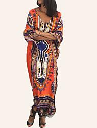 abordables -Femme Ample Tunique Robe Col en V Maxi