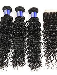 cheap -3 Bundles with Closure Malaysian Hair Curly Human Hair Natural Color Hair Weaves / One Pack Solution / Human Hair Extensions 8-28 inch Human Hair Weaves 4x4 Closure Soft / Classic / Hot Sale Natural