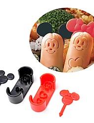 abordables -bande dessinée souris saucisse moule coupe avec pics déjeuner bento maker