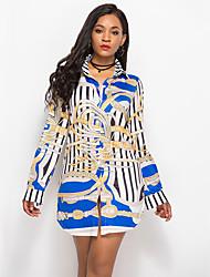 Недорогие -Жен. Рубашка Уличный стиль Цветочный принт / Геометрический принт