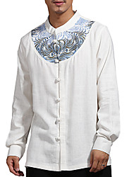 Недорогие -мужская рубашка - цветной блок v шея