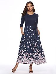 preiswerte -Damen Swing Kleid - mit Schnürung, Blumen Maxi