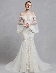 cheap -Mermaid / Trumpet Off Shoulder Court Train Lace / Tulle Made-To-Measure Wedding Dresses with Appliques / Lace by LAN TING BRIDE®
