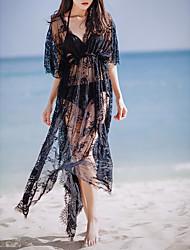 baratos -Mulheres Feriado / Praia Algodão / Renda Vestido - Renda, Sólido Decote em V Profundo Longo Preto