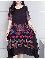 abordables -Mujer Tallas Grandes Tejido Oriental Seda / Algodón Túnica Vestido - Estampado, Floral Midi