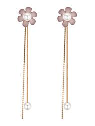 baratos -Mulheres Longas Brincos Compridos - Imitação de Pérola Flor Europeu, Doce, Fashion Cinzento / Verde / Rosa claro Para Festa / Noite