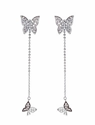 cheap -Women's AAA Cubic Zirconia Stylish / Single Strand Hoop Earrings / Front Back Earrings / Ear Jacket - Butterfly Simple, Romantic, Casual / Sporty Silver For Birthday / Date