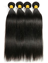 Недорогие -4 Связки Индийские волосы Прямой Натуральные волосы Необработанные натуральные волосы Человека ткет Волосы Удлинитель Пучок волос 8-28 дюймовый Естественный цвет Ткет человеческих волос / 8A