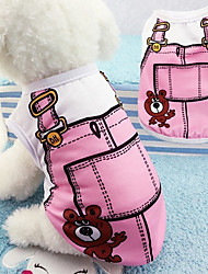 billige -Hunde T-shirt Hundetøj Tegneserie Blå / Lys pink Bomuld Kostume For kæledyr Unisex Ferie / Fritid
