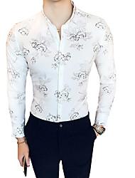 Недорогие -Муж. Рубашка Классический воротник Тонкие Цветочный принт Белый / Длинный рукав / Лето