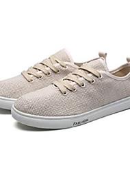 billige -Herre Komfort Sko Hør Forår sommer Afslappet / Minimalisme Sneakers Hvid / Sort / Beige