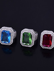 cheap -Men's AAA Cubic Zirconia Stylish / Geometric Ring - Platinum Plated Creative Trendy, Hyperbole, Hip-Hop 7 / 8 / 9 Red / Light Blue / Light Green For Daily / Holiday