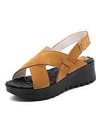 cheap -Women's Shoes Suede Spring & Summer Comfort Sandals Wedge Heel Light Yellow