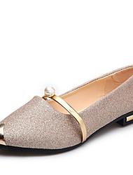 Недорогие -Жен. Комфортная обувь Синтетика Весна & осень На каждый день На плокой подошве На низком каблуке Заостренный носок Пайетки Золотой / Черный / Серебряный