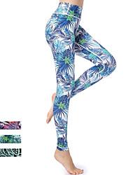 baratos -GOSOU≡R Mulheres Calças de Yoga - Azul, Verde / preto, fúcsia Esportes Floral Elastano Cintura Alta Meia-calça Corrida, Fitness, Ginásio Roupas Esportivas Secagem Rápida, Butt Lift, Compressão