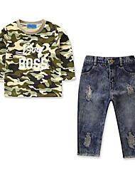 levne -Dítě Chlapecké Jednobarevné Dlouhý rukáv Sady oblečení