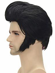 economico -Parrucche sintetiche / Parrucche per travestimenti Liscio Capelli sintetici 6 pollice Lavabile / Riutilizzabili Nero Parrucca Per uomo Corto Senza tappo Nero