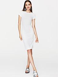 baratos -Mulheres Moda de Rua Delgado Camiseta Vestido Sólido Médio