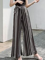 cheap -Women's Plus Size Slim Wide Leg Pants - Color Block / Going out
