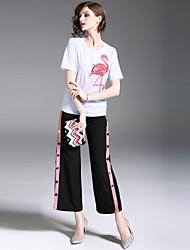 abordables -Femme Sortie Actif / Chic de Rue Chemise / Set - Animal, Imprimé Pantalon / Printemps / Eté