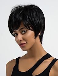 Недорогие -Человеческие волосы без парики Натуральные волосы Прямой Стрижка под мальчика Природные волосы Темно-черный Без шапочки-основы Парик Жен. Повседневные