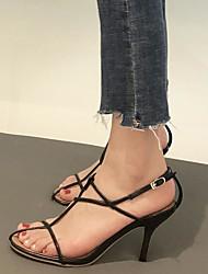 povoljno -Žene Cipele Mekana koža Ljeto Udobne cipele Sandale Stiletto potpetica Obala / Crn / Lila-roza