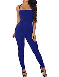 abordables -Femme Quotidien / Sports Licou Noir Vin Bleu royal Crochet Combinaison-pantalon, Couleur Pleine M L XL Sans Manches
