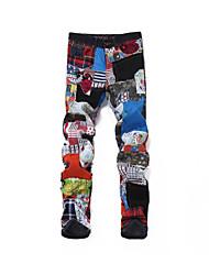 baratos -Homens Punk & Góticas / Exagerado Algodão Delgado Jeans Calças - Estampa Colorida / Xadrez Patchwork Arco-íris / Outono / Inverno / Bandagem