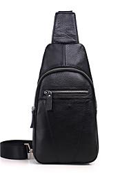 baratos -Homens Bolsas Pele Sling sacos de ombro Ziper Preto / Café / Marron