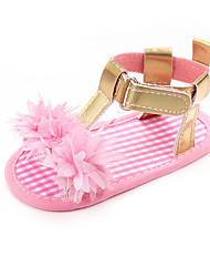 abordables -Fille Chaussures Polyuréthane Eté Premières Chaussures Sandales Fleur / Scotch Magique pour Bébé Fuchsia / Argent / Rose / Couleur Pleine