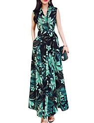 baratos -Mulheres Feriado / Para Noite balanço Vestido - Estampado, Floral Decote V Longo Folha tropical