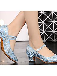 Недорогие -Жен. Обувь для модерна Кожа На каблуках Толстая каблук Танцевальная обувь Серебристо-серый / Синий / Белое / серебро