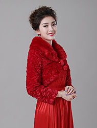 cheap -Long Sleeve Faux Fur Wedding / Birthday Women's Wrap With Pendant Shrugs