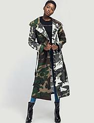 Недорогие -Жен. Пальто Воротник-стойка камуфляж / Современный стиль