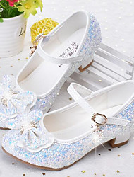 cheap -Girls' Shoes Faux Leather Spring &  Fall Flower Girl Shoes Heels Rhinestone for Kids / Teenager White / Blue / Pink