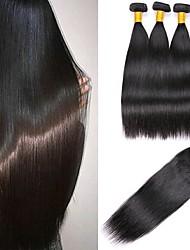 billige -3 Bundler Med Afslutning Brasiliansk hår Lige Menneskehår Menneskehår, Bølget / Udvidelse / Én Pack Solution 8-22 inch Menneskehår Vævninger 4x4 Lukning Bedste kvalitet / 100% Jomfru Naturlig Farve