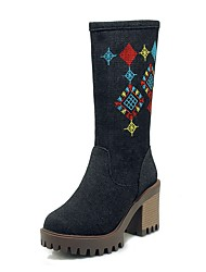 Недорогие -Жен. Cowboy / Western Boots Деним Наступила зима На каждый день Ботинки На толстом каблуке Круглый носок Сапоги до середины икры Черный / Темно-синий / Светло-синий