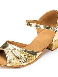 baratos -Mulheres Sapatos de Dança Latina Couro Ecológico Salto Salto Grosso Sapatos de Dança Dourado / Prata