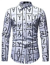 Недорогие -Муж. С принтом Рубашка Классический Буквы
