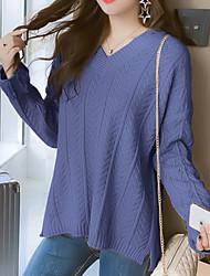 povoljno -Žene Dugih rukava Pullover Jednobojni V izrez