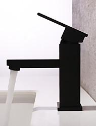 Недорогие -Ванная раковина кран - Водопад / Широко распространенный Окрашенные отделки Настольная установка Одной ручкой одно отверстиеBath Taps