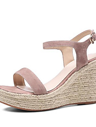 cheap -Women's Shoes Cowhide Summer Comfort / Basic Pump Sandals Wedge Heel Black / Light Pink / Light Green