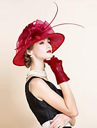 economico -Lino / Pelle cappelli con Floreale 1pc Matrimonio / Occasioni speciali / Casual Copricapo